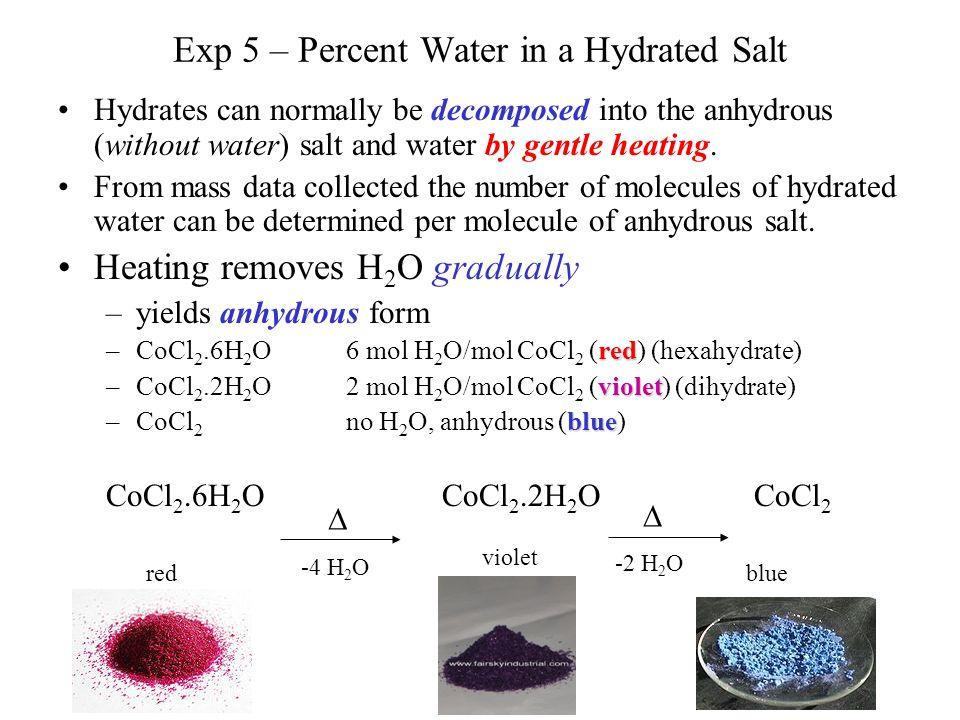 experiemtn 5 hydrate salt Determining a mole ratio: hydrate analysis lab  to calculate the formula of a hydrate salt unknown if the this experiment will promote you from using the.