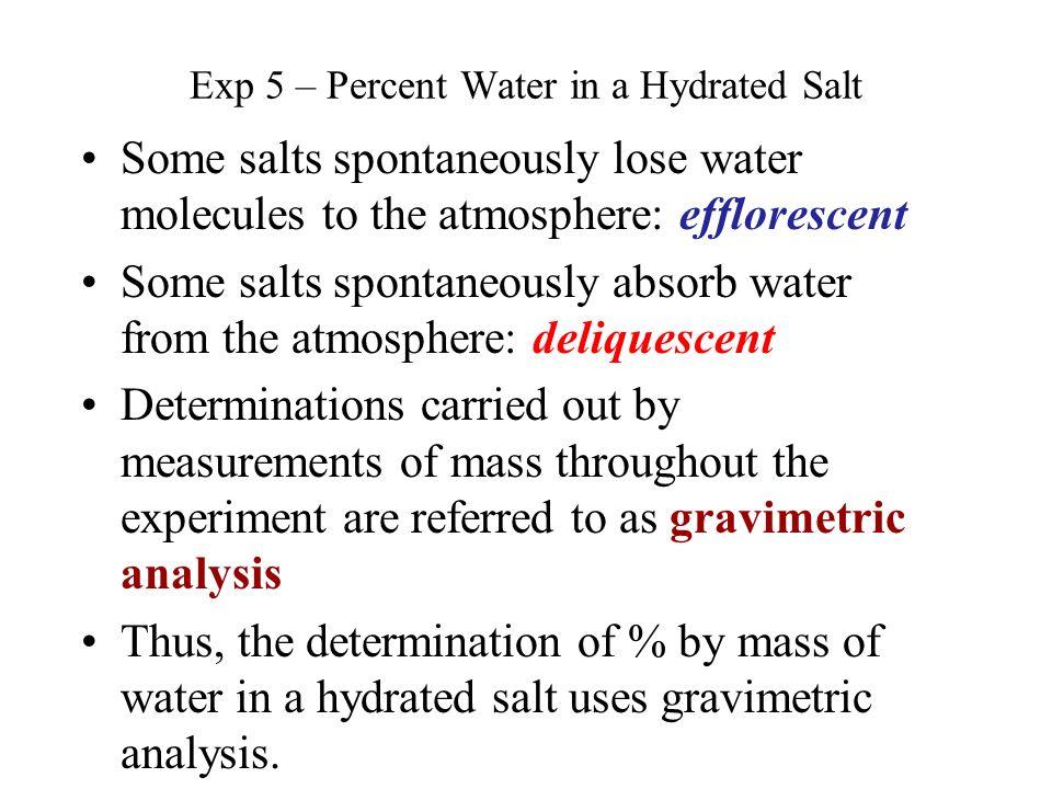 percent water in a hydrate