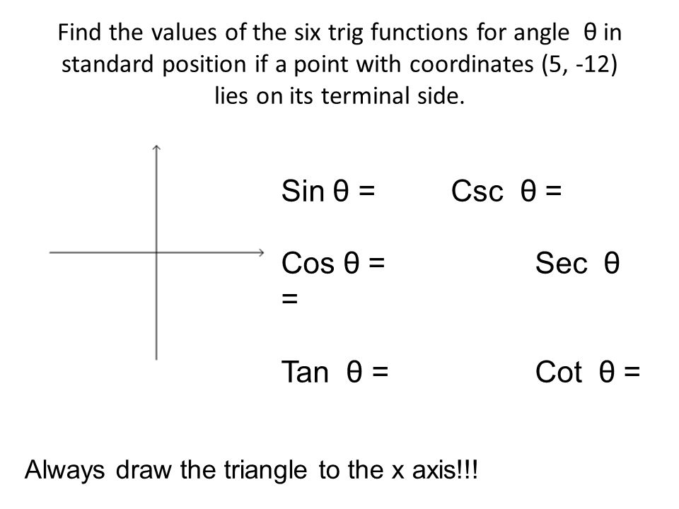 Bell Work R Find The  Trig Functions For R Sin R  Csc R  Cos