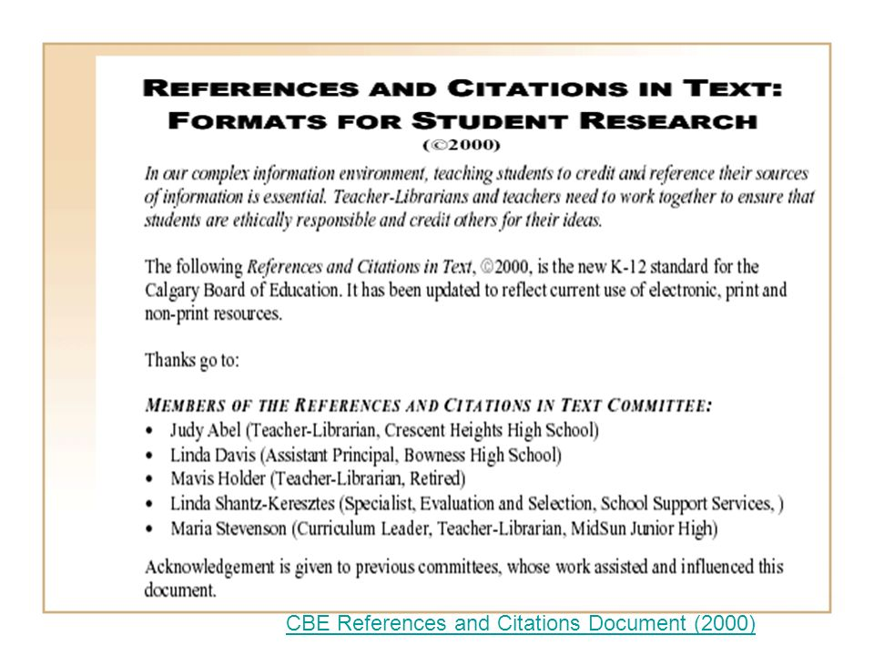CBE References and Citations Document (2000)