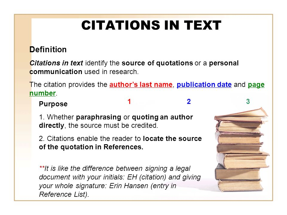 CITATIONS IN TEXT Definition