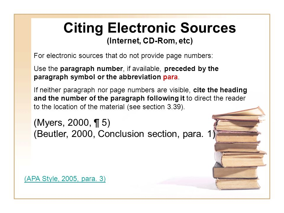 Citing Electronic Sources (Internet, CD-Rom, etc)
