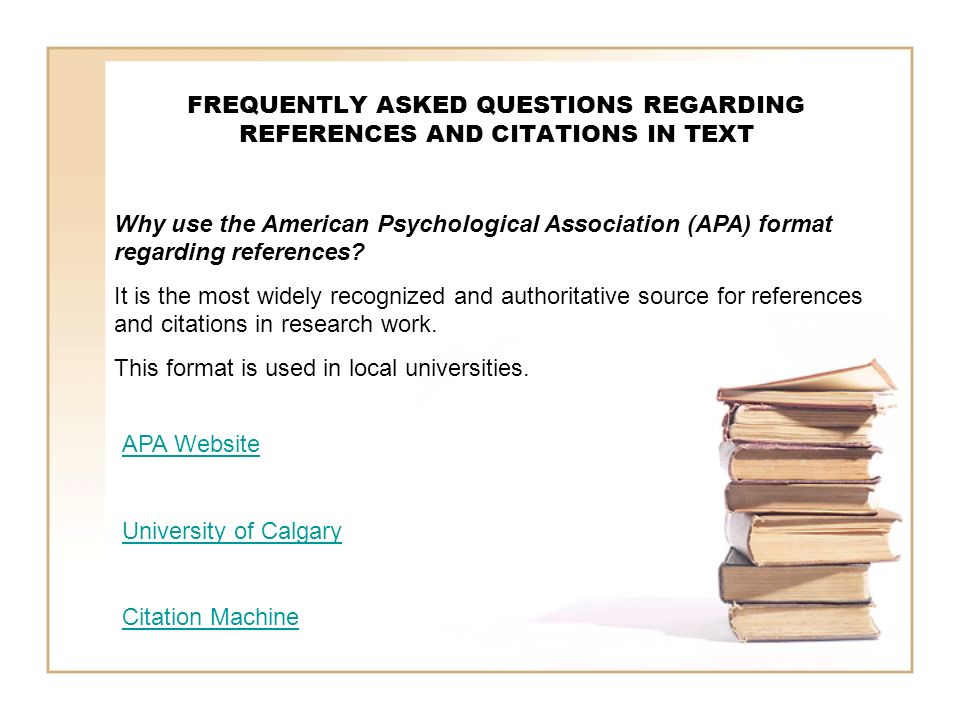 FREQUENTLY ASKED QUESTIONS REGARDING REFERENCES AND CITATIONS IN TEXT