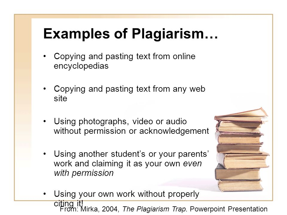Examples of Plagiarism…