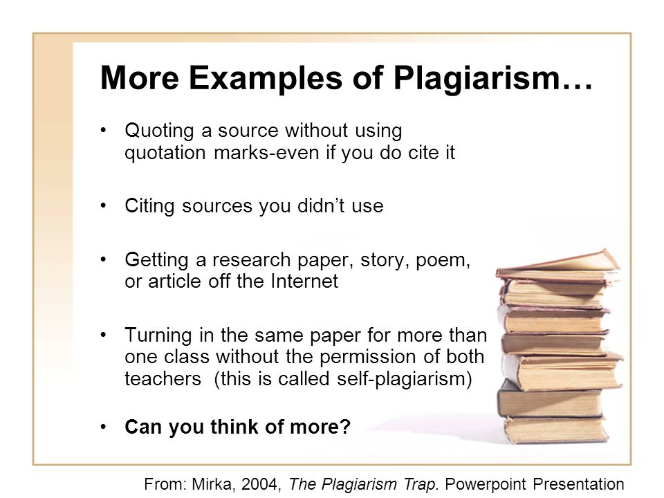 More Examples of Plagiarism…