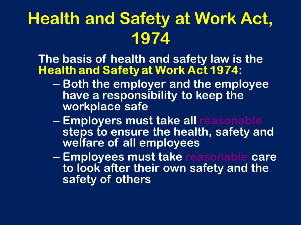 employee safety health and welfare law paper Main laws related to occupational health & safety in this country is the factory act 1965 and  analyze the impact of lack of occupational safety and health identify means to  the laws that regulate the health, safety & welfare provisions and working conditions of the workers includes.