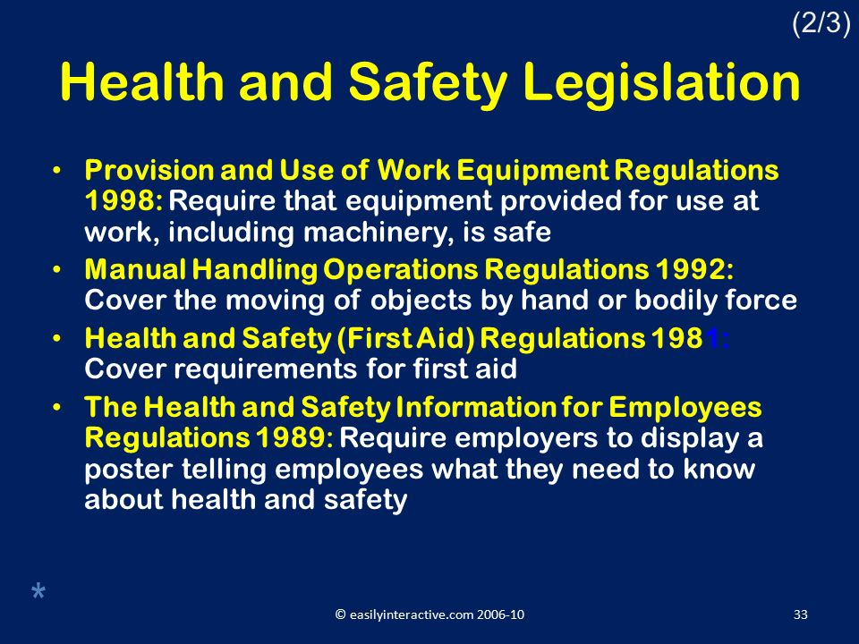 health and safety legislation The construction (design and management) regulations place specific duties  on the approach to health and safety these regulations were updated in 2015.