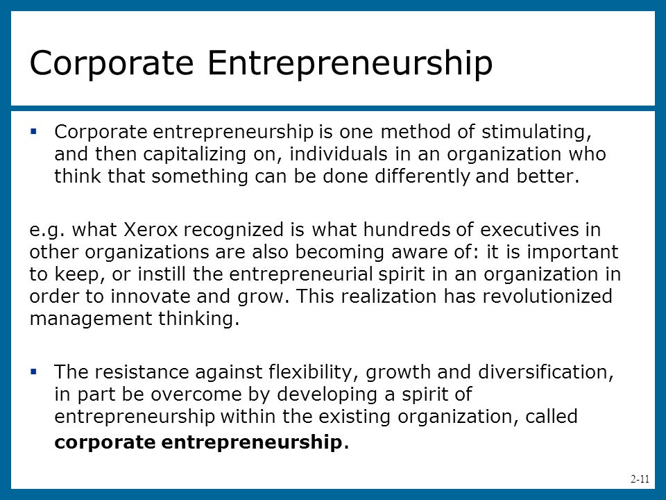 developing corporate entrepreneurship With a particular focus on the implementation of corporate entrepreneurship by   entrepreneurship is linked to creating new business (yalcin and kapu 2008) or.