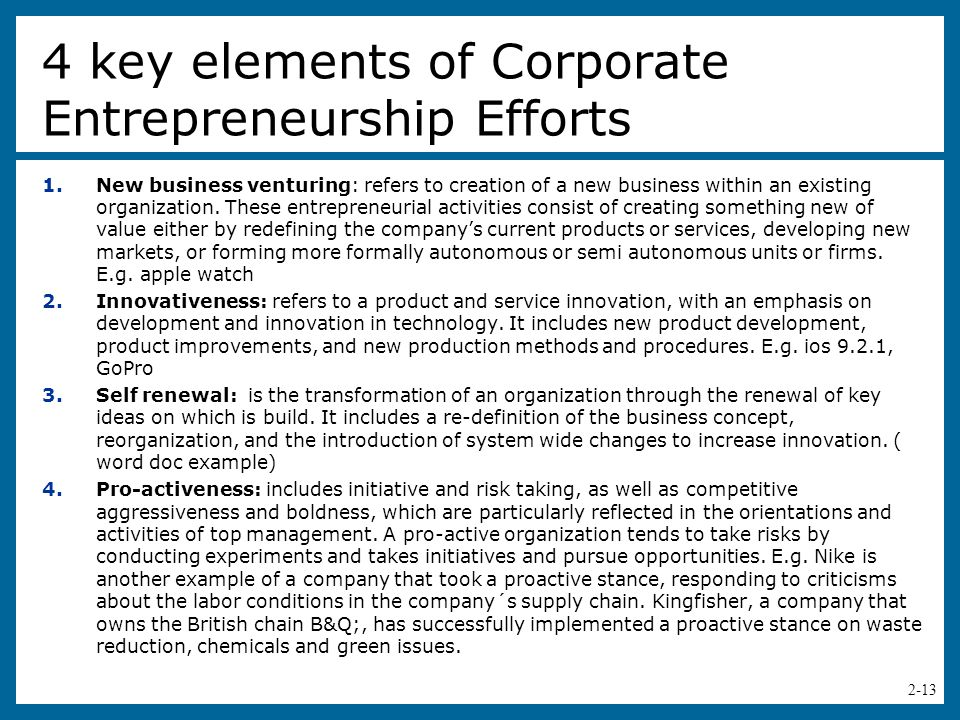 the elements of entrepreneurship The four elements of entrepreneurship are successful entrepreneurs made or born entrepreneurial behavior isn't about scale, it's about a desire for a certain kind of journey we'd need to start with an understanding of what an entrepreneur is.