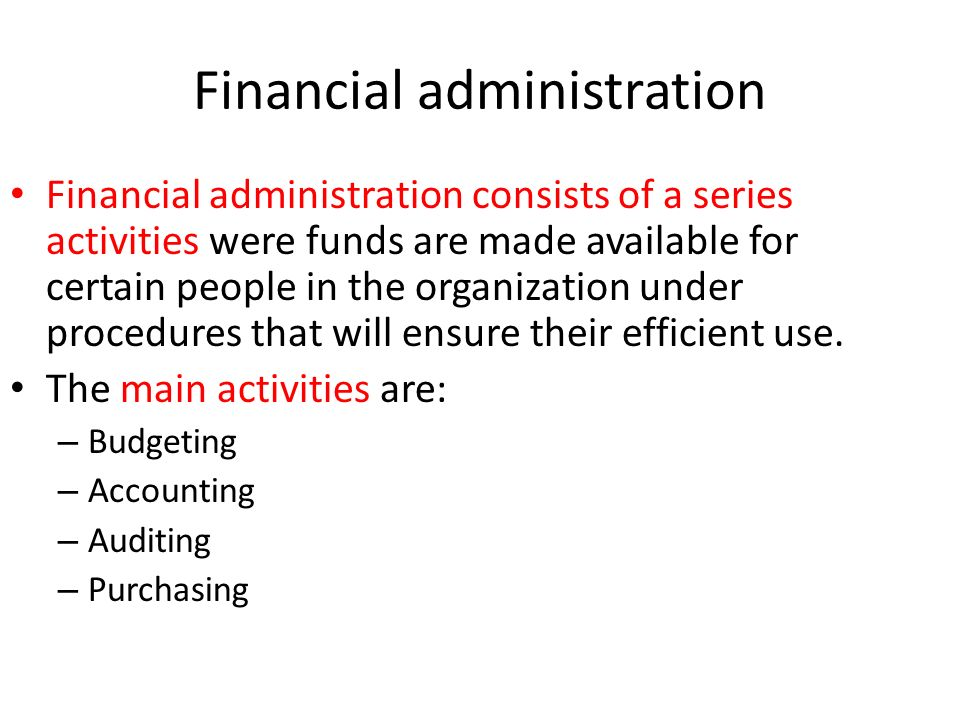 Financial administration