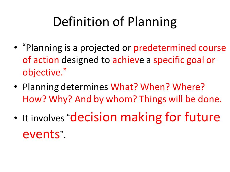 Definition of Planning