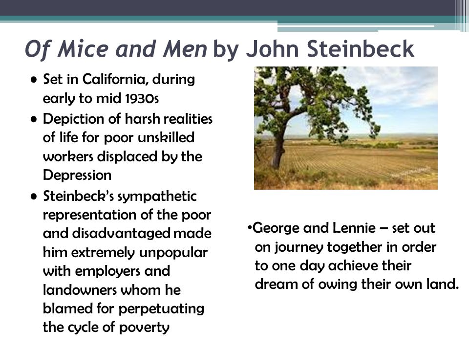 the portrayal of lennie in the first chapter of of mice and men by john steinbeck Get free homework help on steinbeck's of mice and men: book summary, chapter summary and analysis, quotes, essays, and character analysis courtesy of cliffsnotes john steinbeck's of mice and men is a parable about what it means to be human steinbeck's story of george and lennie's ambition of owning their own.