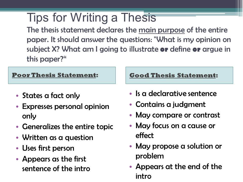 main purpose of a thesis statement The thesis statement is the sentence that states the main idea of a writing assignment and helps control the ideas within the paper it is not merely a topic it often reflects an opinion or judgment that a writer has made about a reading or personal experience.