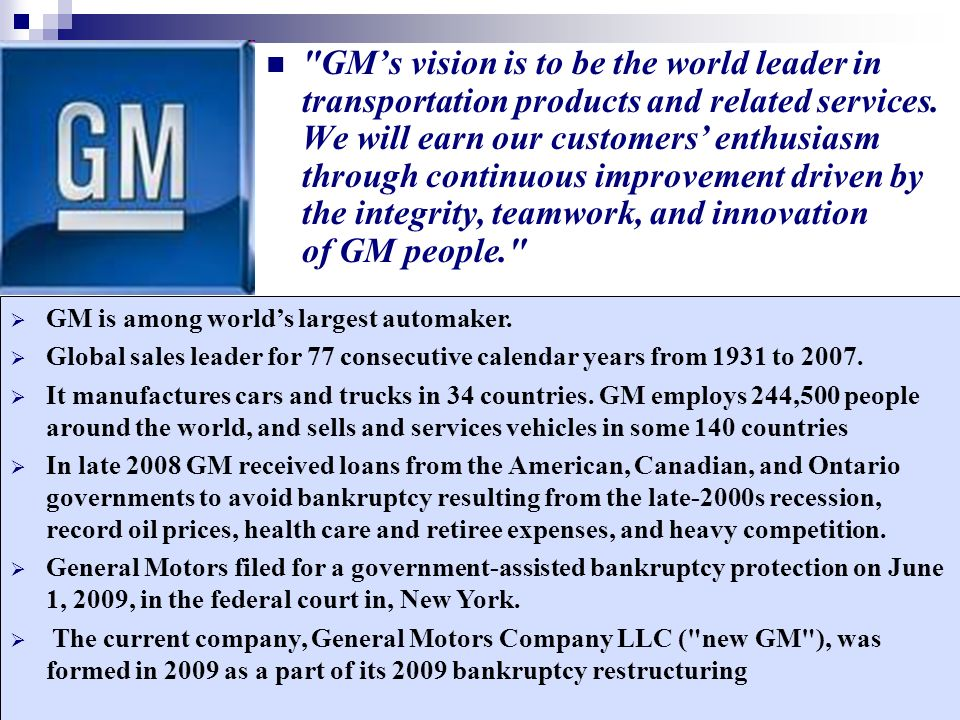 Strategy formulation vision mission ppt video online for General motors pricing strategy