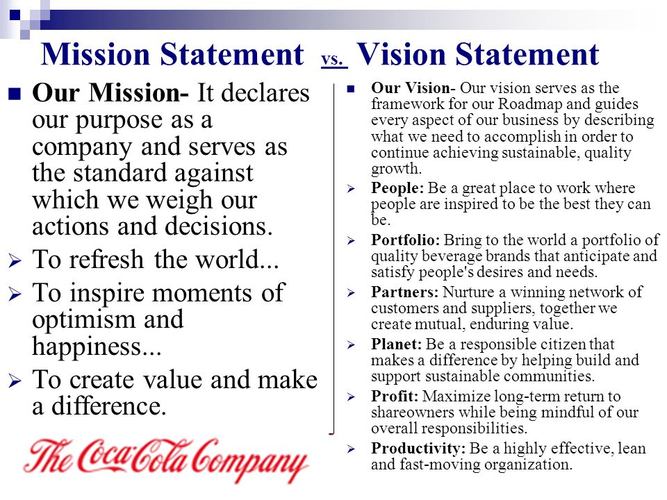 Mission statement vs value statement