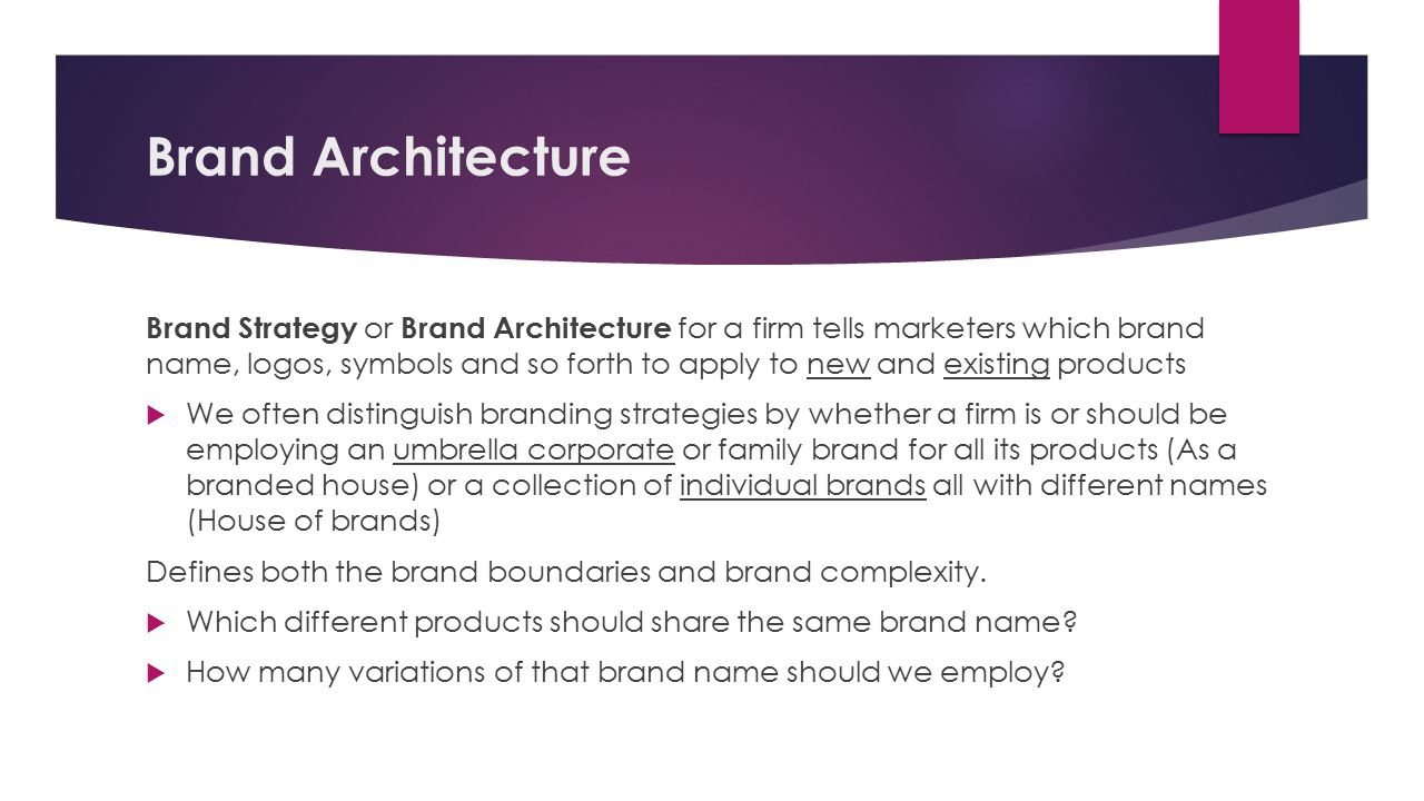 Designing implementing brand architecture strategies for Brand architecture strategy