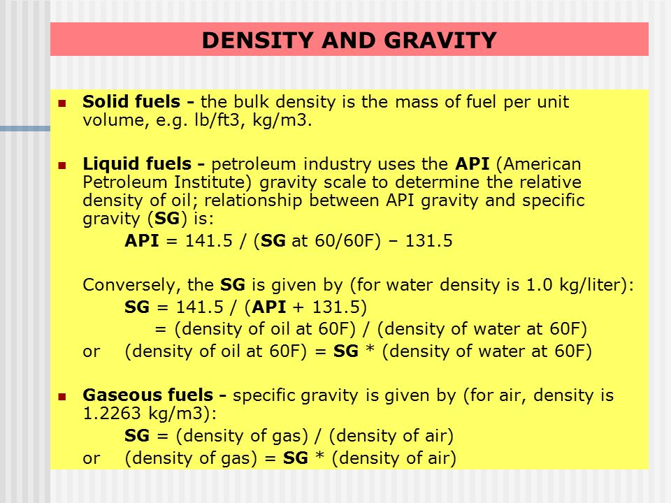 relationship between bulk density and specific gravity