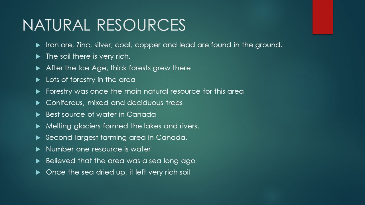 Where is the great lakes st lawrence lowlands ppt for Natural resources soil uses