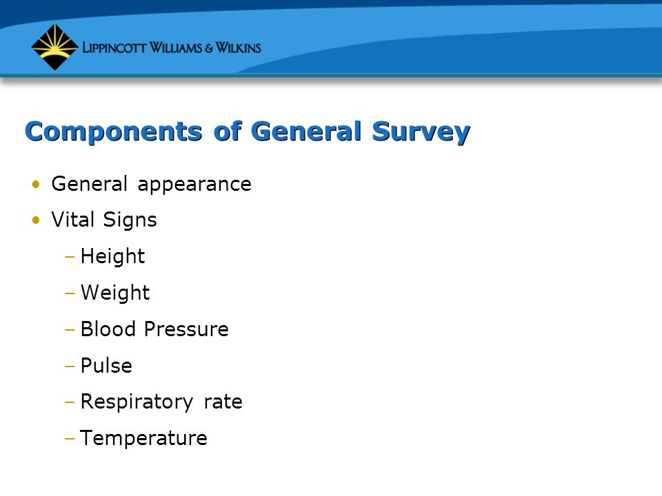 Components of General Survey - ppt download