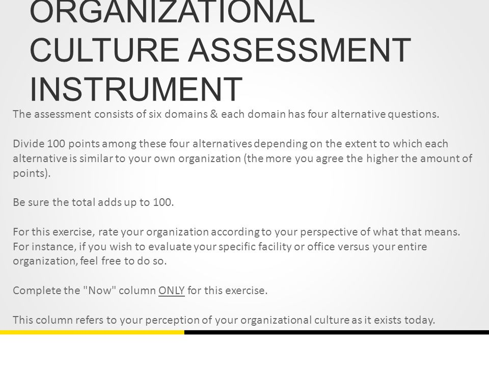 organizational culture assessment instrument template - readiness for ebp the role of organizational culture ppt video online download