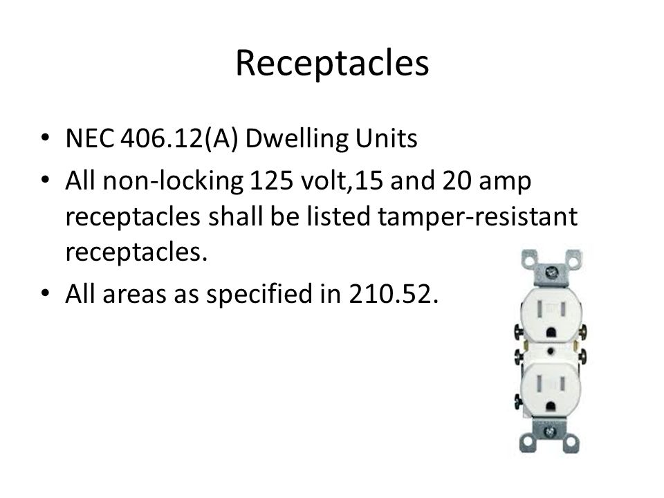 Receptacles NEC 406.12(A) Dwelling Units