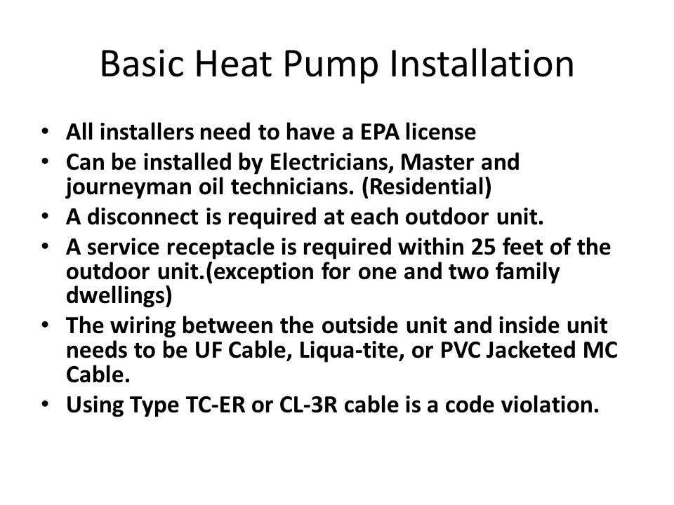 Basic Heat Pump Installation