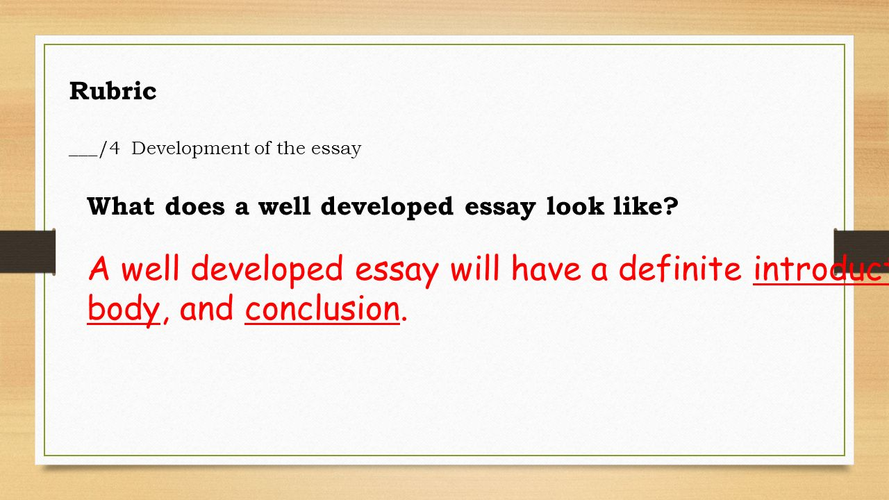 well developed essays Components of a successful essay 1 thesis: an essay's main proposition a thesis should not be confused with a topic, which represents only the subject area of an essay a good thesis must.