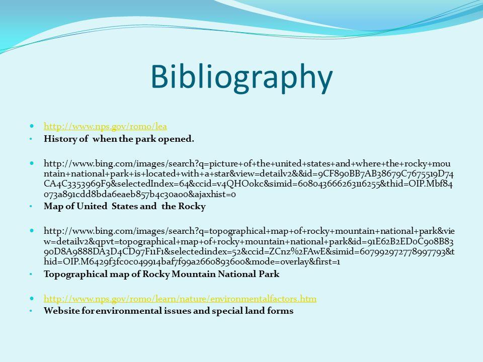 Rocky Mountain National Park 11 Bibliography