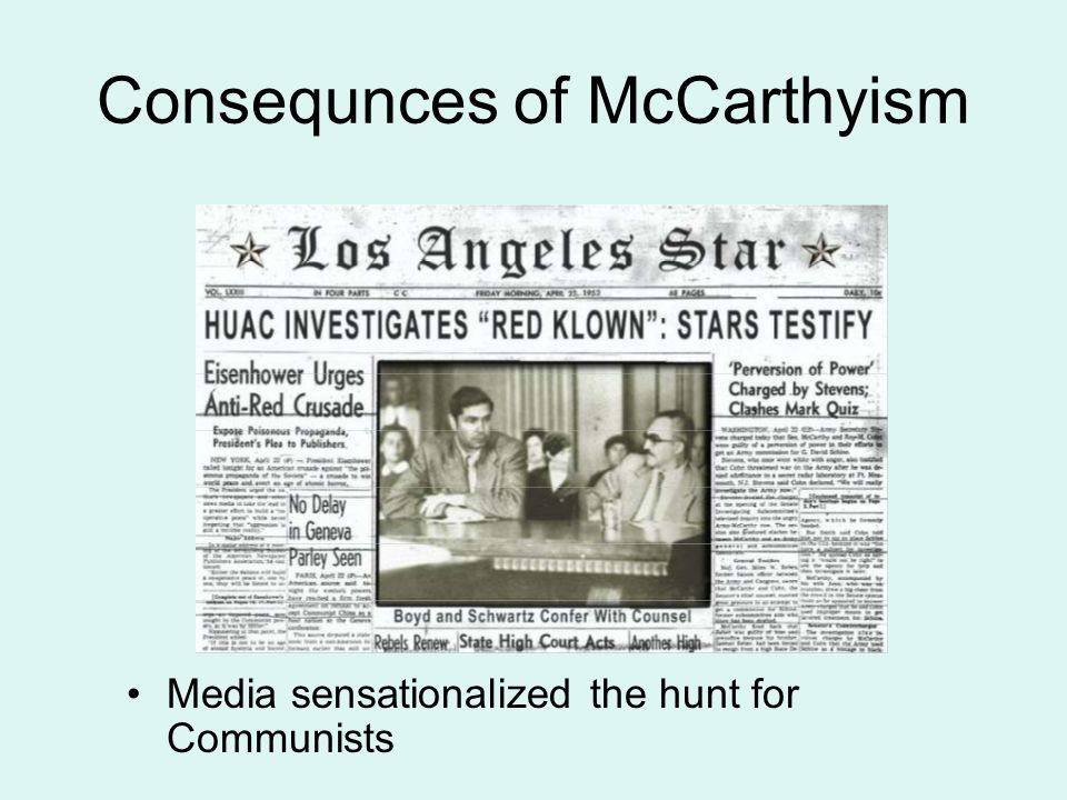 mccarthyism and salem witch hunt Mccarthyism was a witch-hunt because it destroyed people's reputations it was very difficult for an accused person to prove that he or she was not a communist, and mccarthyism adopted a 'guilty .