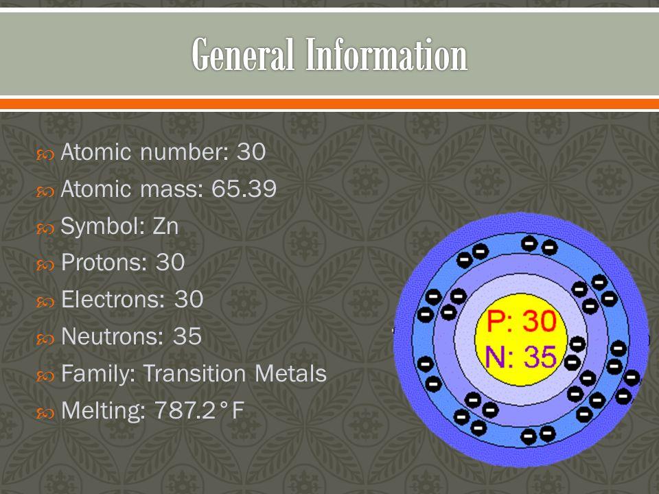 general information atomic number 30 atomic mass 6539 symbol zn - Periodic Table Atomic Mass Zinc