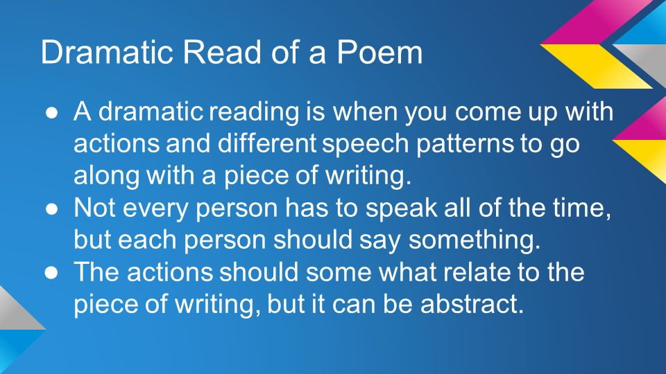 Writing, Reading and Understanding Poetry
