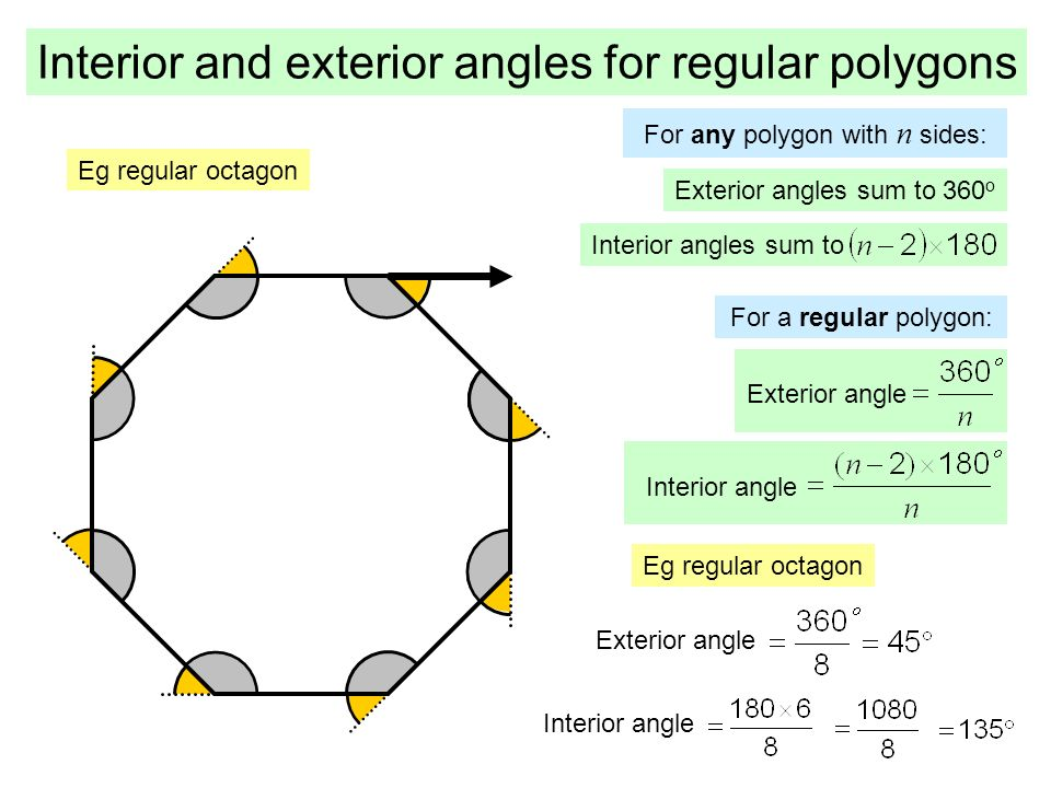 Regular polygon angles pictures to pin on pinterest pinsdaddy for Exterior angles of a polygon formula