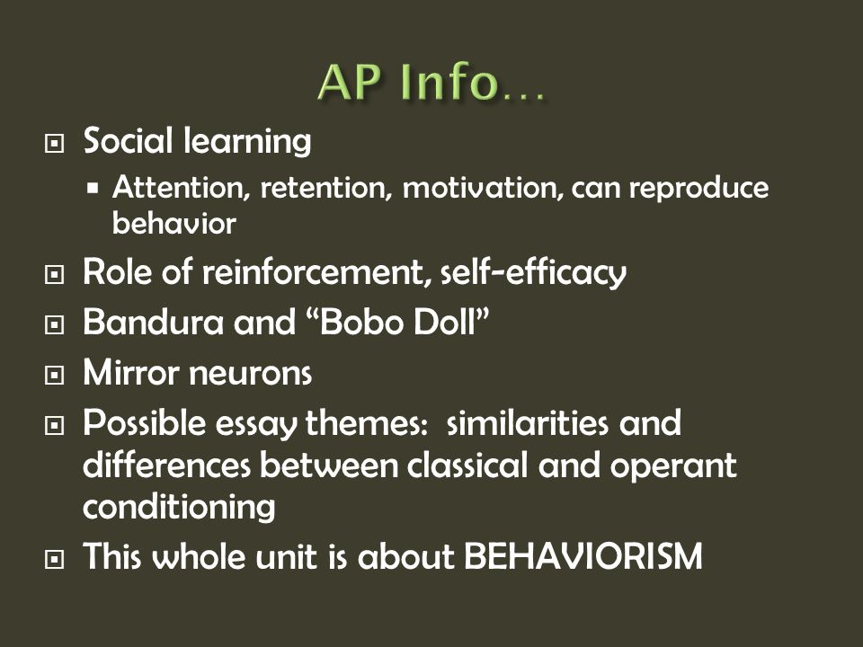 Operant Conditioning Essay Psychological Determinism Lo I Will Know  Classical Conditioning Ppt  Ap Info