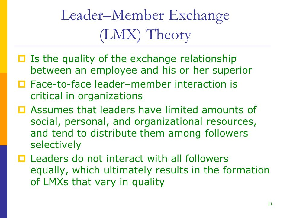 leader member exchange theory lmx What researchers are most associated with leader-member exchange theory lmx theory was first described in the works of dansereau, graen, and haga (1975), but has continued to be of interest to researchers even today.