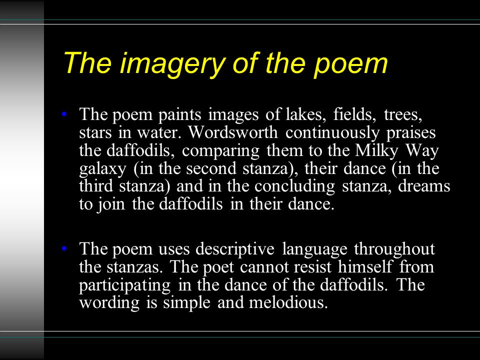 imagery in the poem We all love to read poetry that evokes strong mental pictures the imagery  poems collection from the writers at my word wizard does just that this  wonderful.