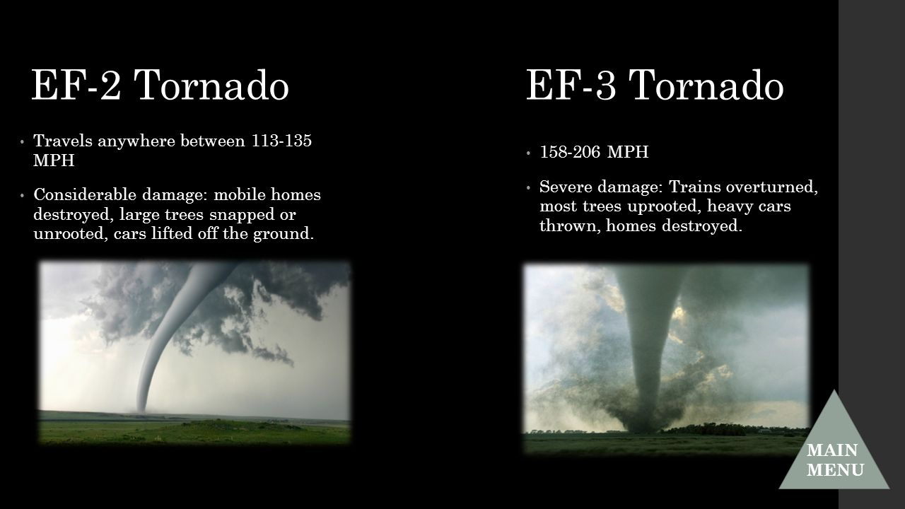 EF-2 Tornado EF-3 Tornado Travels anywhere between MPH