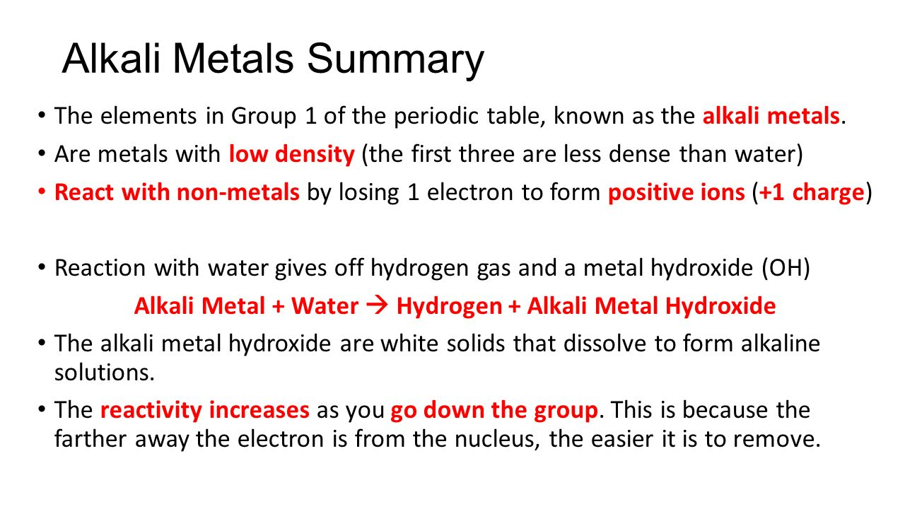 Where are the alkali metals on the periodic table gallery chemistry unit 1 revision ppt download 32 alkali metal gamestrikefo gallery gamestrikefo Gallery