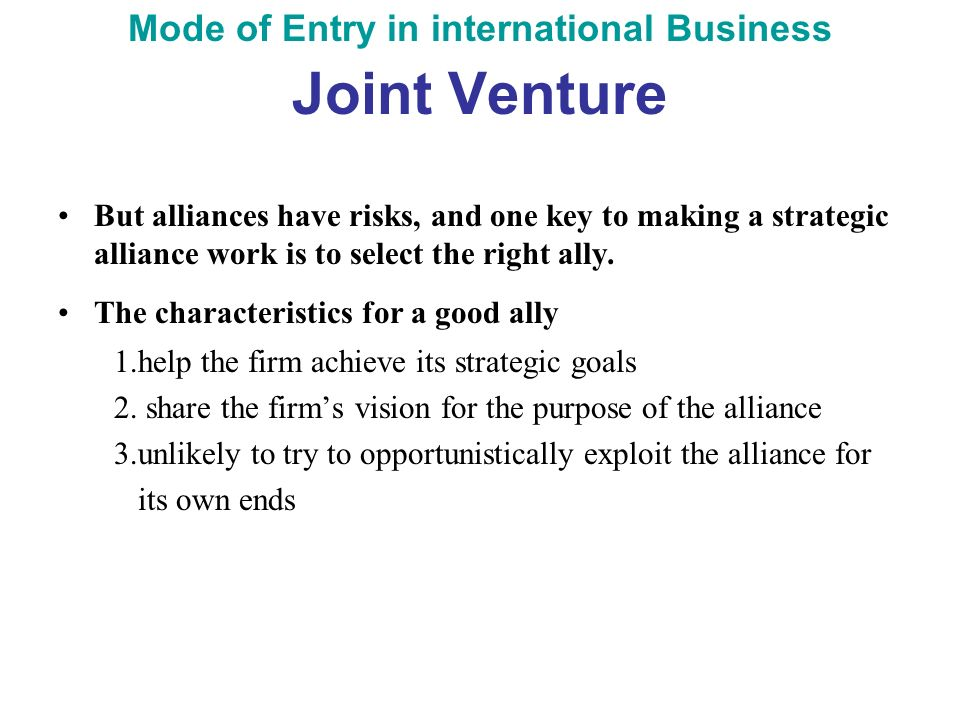 partner selection for international joint ventures ijv Individually and when the partners intend to enter highly uncertain market by   international joint ventures (ijvs) have been described as 'a logical and timely.