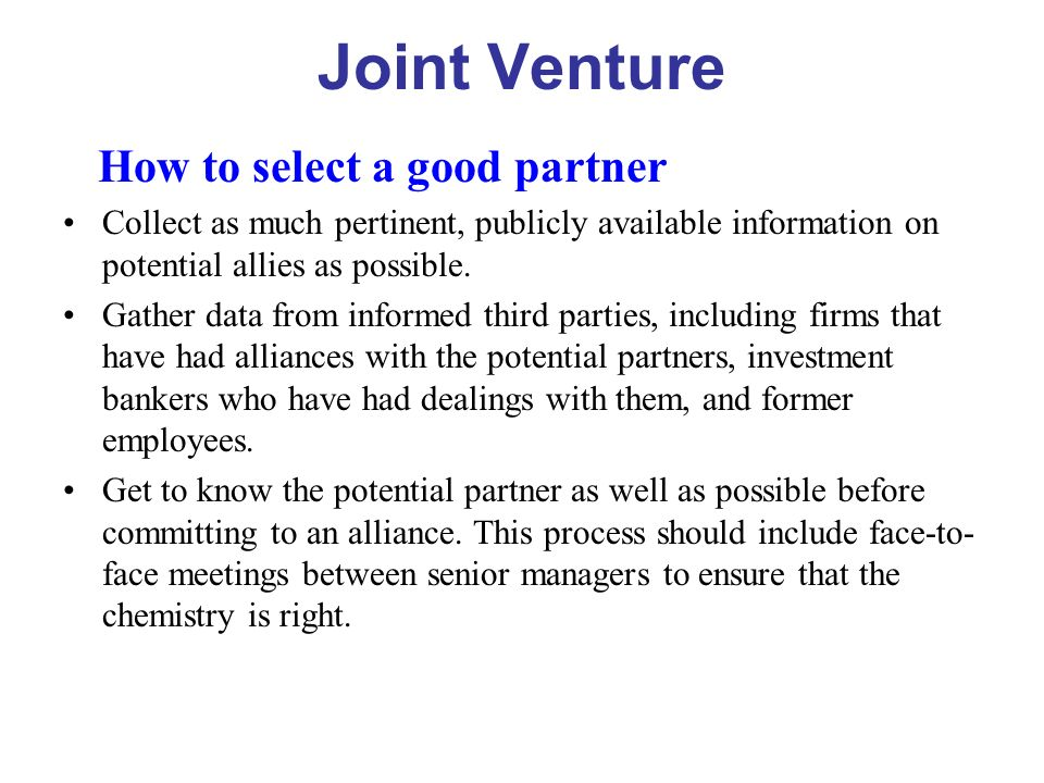 "partner selection in joint ventures essay Prior studies are vague regarding determinants of criteria for selecting ""complementary"" partners for international joint ventures (ijvs) this paper first distinguishes task and."