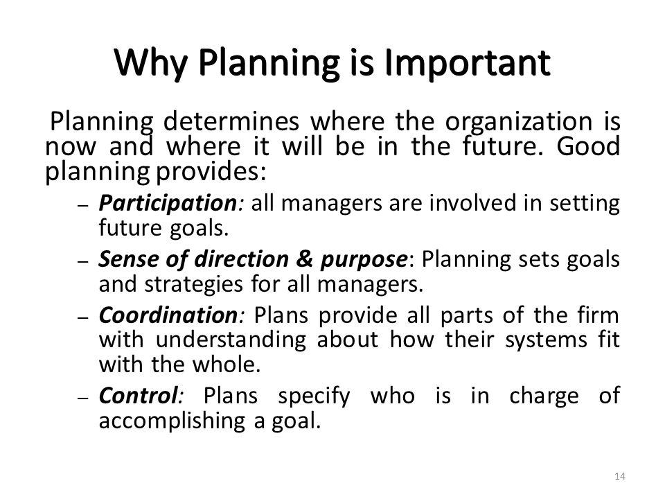 importance of organisational control and planning Answer: the two important functions that enable management to continually plan for the future and assess implementation are called planning and control planning the process of establishing goals and communicating these goals to employees of the organization is the process of establishing goals and communicating these goals to employees of the .