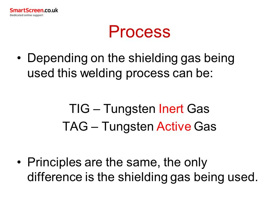 Process Depending on the shielding gas being used this welding process can be: TIG – Tungsten Inert Gas.