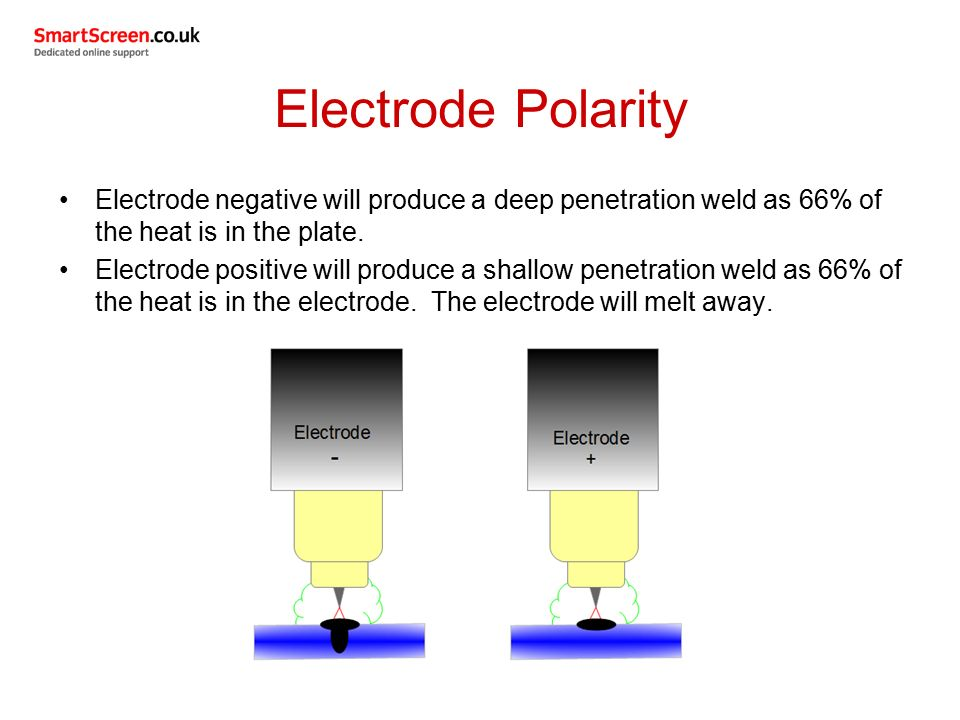Electrode Polarity Electrode negative will produce a deep penetration weld as 66% of the heat is in the plate.