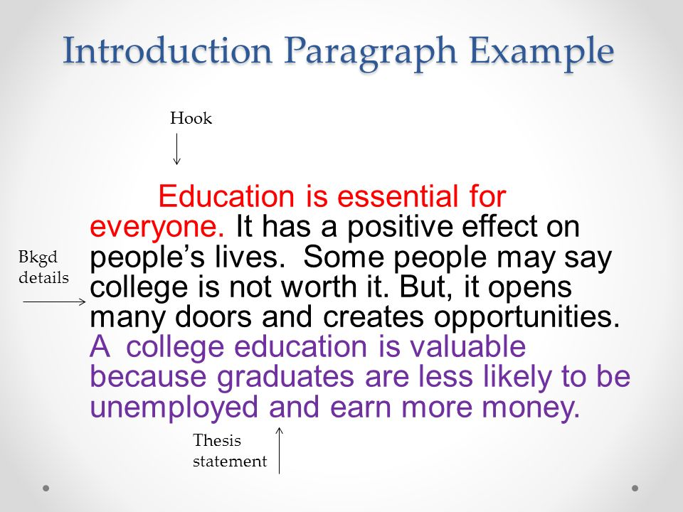 introduction for education essays A good introduction in an argumentative essay acts like a good opening statement in a trial just like a lawyer, a writer must present the issue at hand, give background, and put forth the main argument -- all in a logical, intellectual and persuasive way start your introduction with a sentence .
