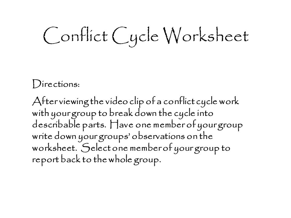 Conflict Cycle Worksheet Ppt Video Online Download
