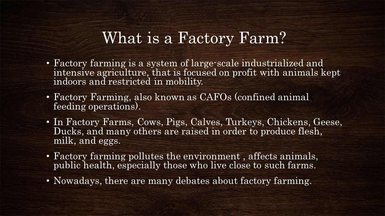 factory farming and its effects on Factory farming may have its place in the future, but it must be a process that is regulated and organized to be more environmentally friendly to be successful if family farms are given subsidies as a first priority, then there could be a place for both types of farms in our future world.