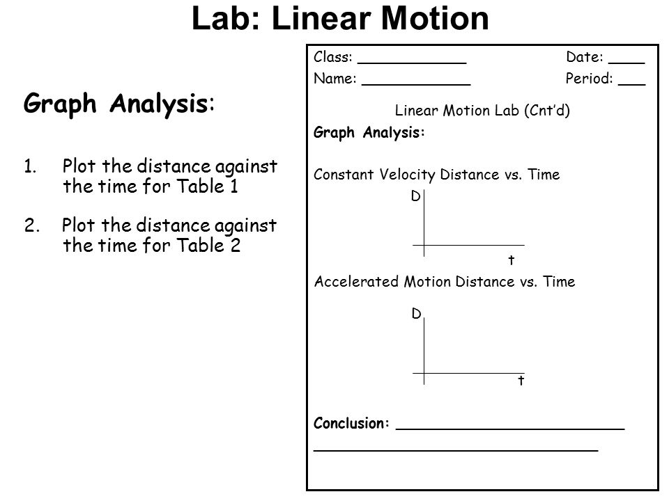Lab: Linear Motion Experimental Procedure: - ppt download