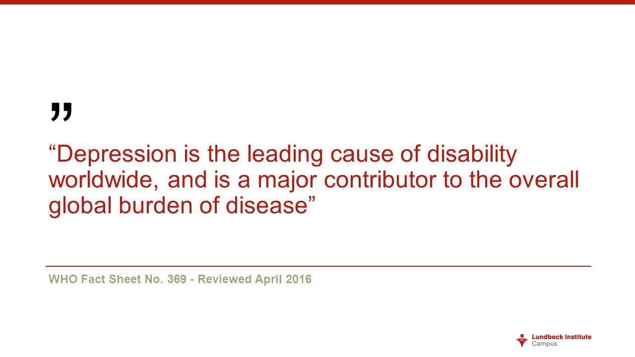 who depression is the leading cause of disability pdf