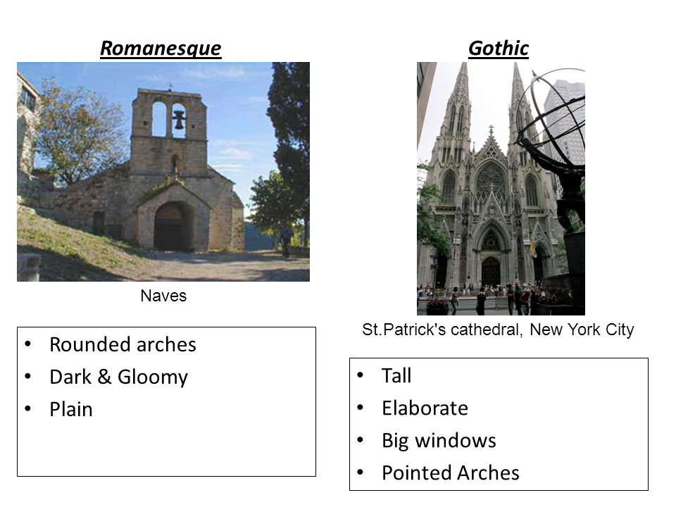 romanesque vs gothic But in vezelay, romanesque and gothic stand side by side ste-madeleine is a  particularly beautiful and impressive study in contrasting styles.