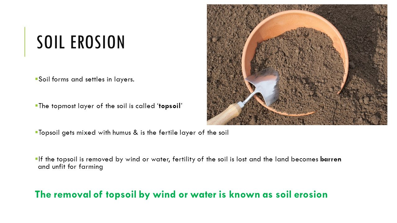 Soil erosion conservation ppt video online download for Why the soil forms layers in water