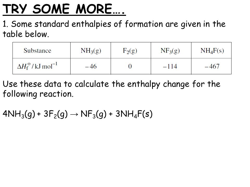 standard enthalpy of formation table pdf